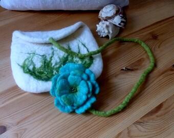 felt bag  turquoise felt flower