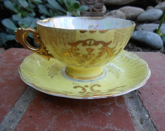 Vintage Teacup & Saucer Yellow and Gold lusterware