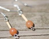 Bamboo and red aventurine earrings