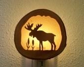 Moose and cattails nightlight