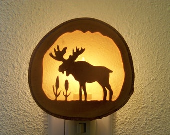 Moose and cattails nightlight