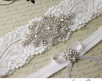Wedding garter set, Diamond White stretch lace Bridal Garter set, Rhinestone and Crystal garters