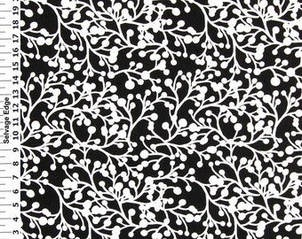 SALE - White Buds on Black Cotton Duck Fabric - One Yard - Home Decor Fabric