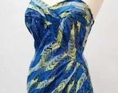 vtg 1950s Catalina swimsuit bathingsuit high rockabilly medium large
