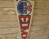 Vintage Edmondton Oilers Hockey Banner Pennant 1980's