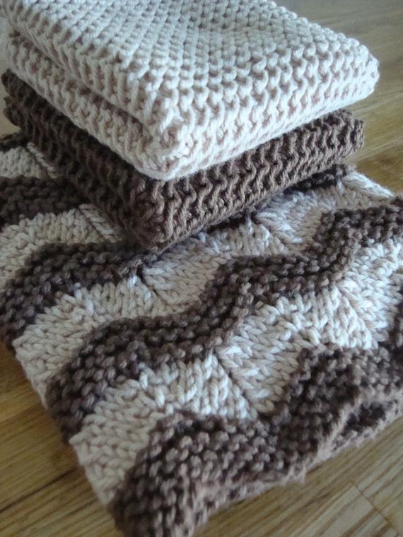 Items similar to Dish Cloth & Towel Set : Hand Knit 100% ...