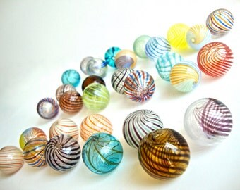 BIG SALE 12 pcs Assorted Colored Handblown Hollow Glass Beads, Blown Glass Beads Colorful Beads - Round Assorted Colors, 0.79 inches or 20mm
