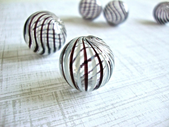 2 pcs Handblown Hollow Glass Beads - Round Clear with Black and White Stripes, 0.79 inches or 20mm, Blown Glass Beads