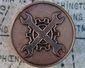 Mechanic's Badge Pin - Brass