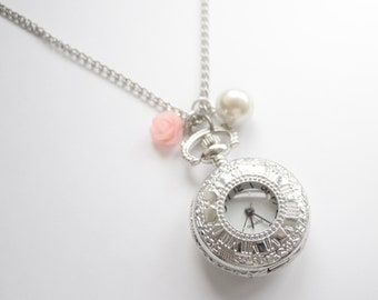 Romantic Pocket Watch Necklace with pink cabochon rose and white pearl
