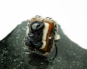 Cameo Ring1890s Filigree Sterling Sardonyx Agate, Dante & Beatrice, Victorian, USA.