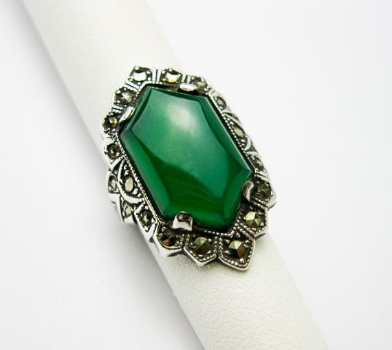 Reserved for Daryl Art Deco, Green Chrysoprase, Sterling Ring with Marcasites. Germany ca.1935