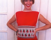 SALE 70's Handmade Strawberry Print Sweater Vest with High Collar