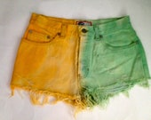 Vintage High Waist Dip Dye Ombre Orange and Green Shorts