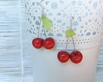Polymer Clay Romantic Boho Fruit Earrings Red Cherry and Green Leaf