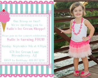 PRINTABLE Photo Invitation - One or Three Photo Invite - Ice Cream Shoppe Party Collection - Dandelion Design Studio