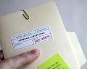 SAMPLE - Custom Baby Announcement / Custom Birth Announcement: Most Wanted Mini FBI File Folder