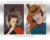 """Original portrait Painting Parisian Family Cubism Guitar KSAVERA """"Parisians"""" 12x20 Musik Gentleman Lady Art Nouveau Popart Contemporary"""