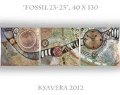 """Abstract Painting Textured Wall Art Metallic Triptych KSAVERA """"FOSSIL 23-25"""" 16x52 Green Gold Black Red Orange White Blue Contemporary Decor"""