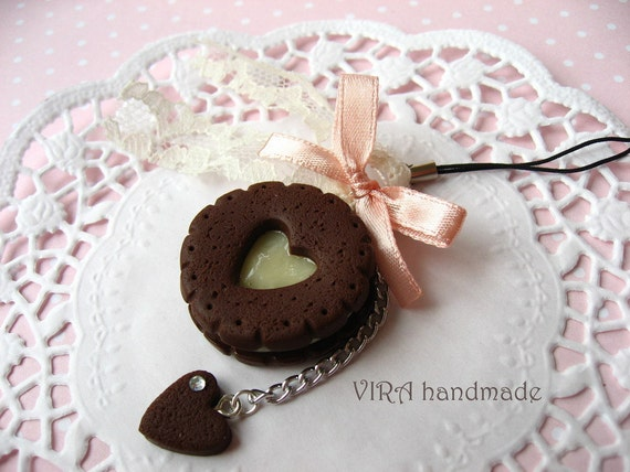 Kawaii cute chocolate cookie vanilla cream bowknot lace cell phone strap charm