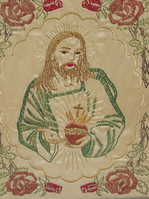Antique Vintage Embroidery Sacred Heart Of Jesus By CherubimGates