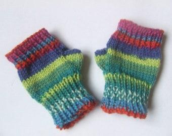 Baby fingerless mittens gloves wristwarmers - girls multicoloured stripes blue green cerise hand knit merino wool gift autumn fall winter