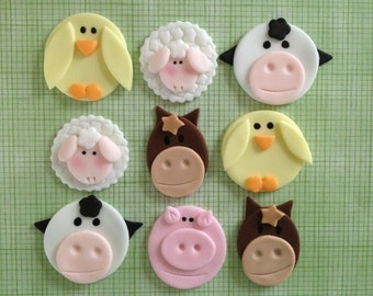 Edible Fondant Farm Animal Cupcake or Cookie Toppers Assortment - Set of 15