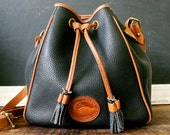 Vintage Dooney and Bourke Navy Leather Drawstring Bucket Handbag,Purse All Weather Leather