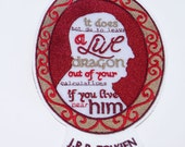 J.R.R. Tolkien Quote Cameo Frame Iron On Embroidery Patch MTCoffinz