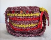 Upcycled fabric crochet bag in fall colors