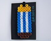 pixel bead blue pencil brooch.. hama bead