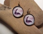 Orca Whale lever back earrings handmade with watercolor art print