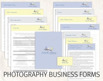 SALE! Photography business forms photography pricing template photography contract price list template Damask birds 13 psd files supplied