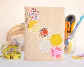 HONEYCOMB UPCYCLED PATCHWORK 4x6 Photo Album: Natural Colored Fabric, Multi-Color Handstitched Applique