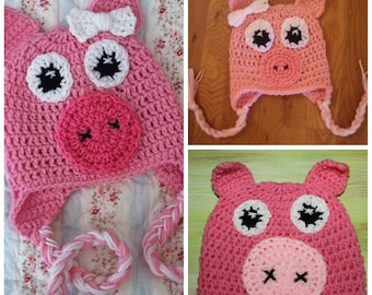 PDF Pattern for Crochet Pig Beanie with Bow. Newborn - Adult Sizes. INSTANT DOWNLOAD