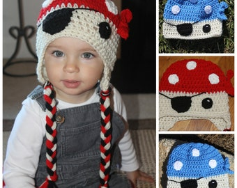 PDF Pattern for a Crochet Pirate Beanie. Make with or without ear flaps and tassels. 1 year - Adult Sizes. INSTANT DOWNLOAD