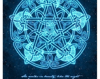 Celtic Moon Pentacle with Poem-  Pagan Wiccan Print - Brigid Ashwood