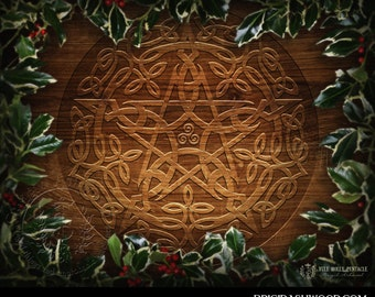Yule Holly Pentacle -  Pagan Wiccan Print - Brigid Ashwood