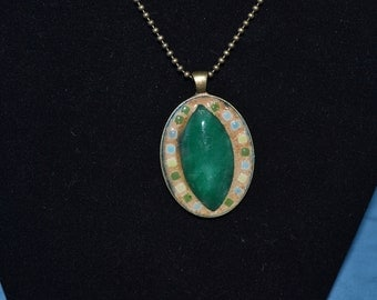 Green Mosaic pendant necklace