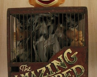 Circus style vintage assemblage: The Amazing Feathered Boy