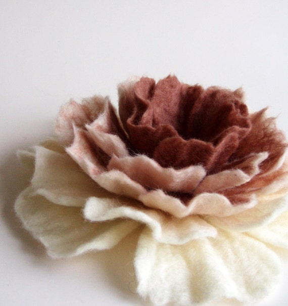 Felted Flower Brooch, Hand Felted Jewelry, Flower Pin, Rose Flower