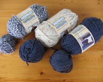 3 Full Skeins of Bernat Country Wool With Extras