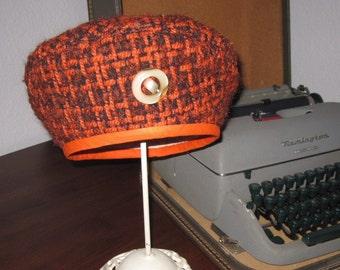 SALE Girls Orange and Brown Tweed Beret Hat Size 4-6