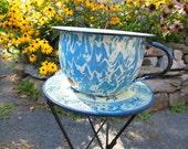 Blue Swirl Enamelware, Graniteware Chamber Pot