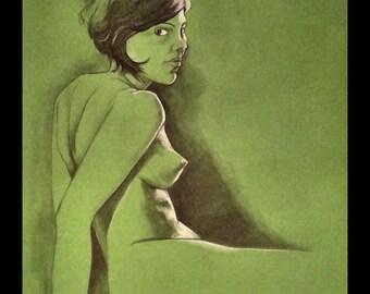 "absinthe nude - 10"" x 13"" print"