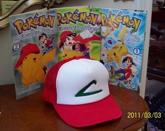 ASH KETCHUM Hat   - Pokemon Trainer Costume  -  Cosplay  -