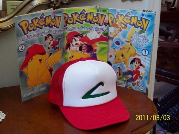 Ash Ketchum Pokemon Costume - Hat- Cap - Embroidered - Anime