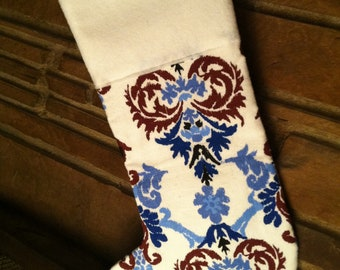 Blue Brown and White Damask Christmas Stocking