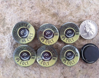 6 Bullet Winchester Colt 45 Fridge Magnet Buttons, (not real bullets) 1 inch buttons