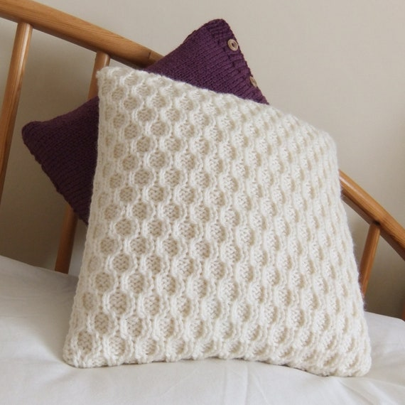 Cream Honeycomb Cable Knit Pillow Cushion Cover